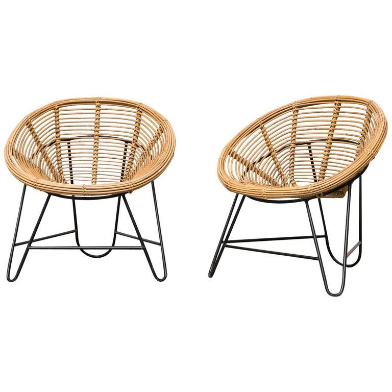 Pair of Onion Skin Patterned Bamboo Hoop Chairs For Sale