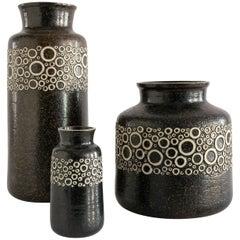 """Three Scandinavian Modern Charmotte """"Kreta"""" Vases by Britt-Louise Sundell"""