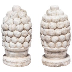 Pair of 17th/18th Century Chinese Stone Finials with Peaches and Persimmons