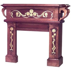 French Art Nouveau Walnut Fireplace Mantel