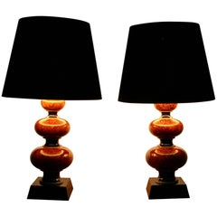 Pair of Wooden Lacquered Table Lamps in Orange or Brown and Black with Shades