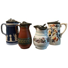 Lot of Four 19th Century Pewter Top Tankards and Pitchers