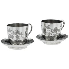 Antique Chinese Export Solid Silver Tea Cups, Yang Qing He, Circa 1880