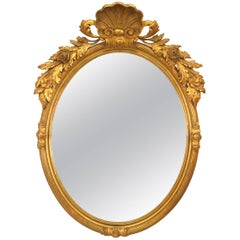 French Victorian Gold Painted Oval Wall Mirror