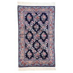 Vintage Aubusson Garden Trellis Chinese Accent Rug with English Country Style