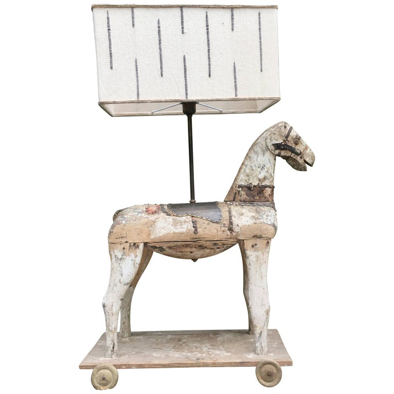 French Table Lamp Made with Wooden Horse Children's Toy from 19th Century
