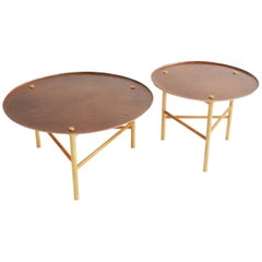 """Venus"". Mexican contemporany design. 2 Side tables in copper hammered by hand"