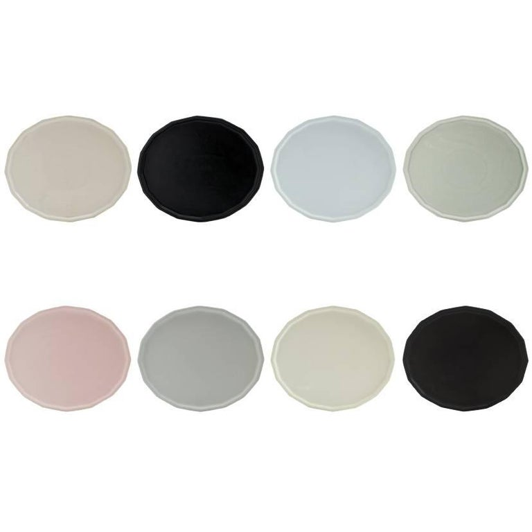 Dinner Plate Set of Eight Modern Contemporary Glazed Porcelain For Sale