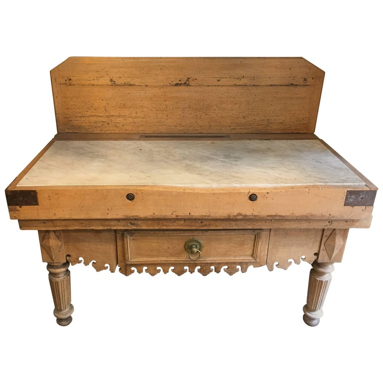 French Butcher Block Table in Oak Wood with Marble Top from 19th Century