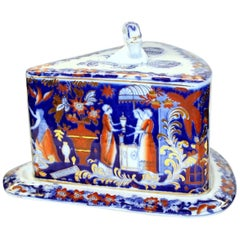 English 19th Century Staffordshire Earthenware Flow Blue and Imari Cheese Dish