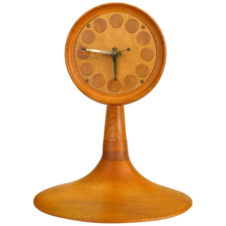 Stack Laminate American Craft Table Clock For Sale