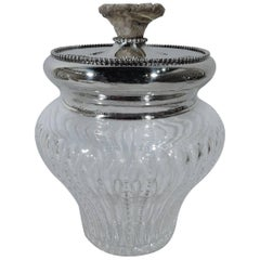 Antique Cut-Glass and Sterling Silver Tobacco Jar with Antler Finial
