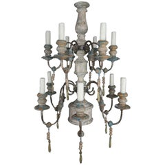 Swedish Twelve-Light Wood and Iron Painted Chandelier