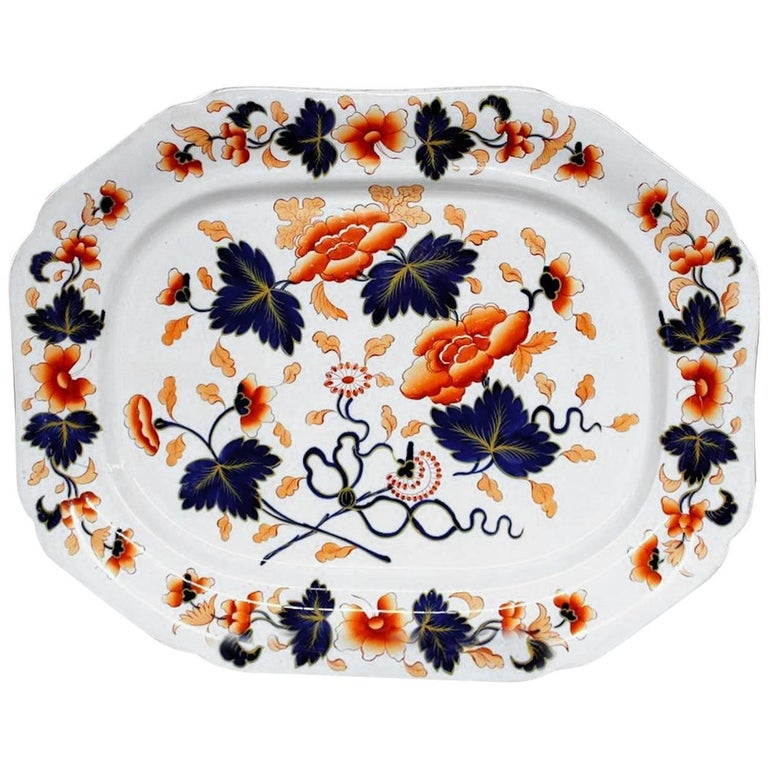 Antique English 19th Century J. Rogers Ironstone Very Large Imari Decor Platter