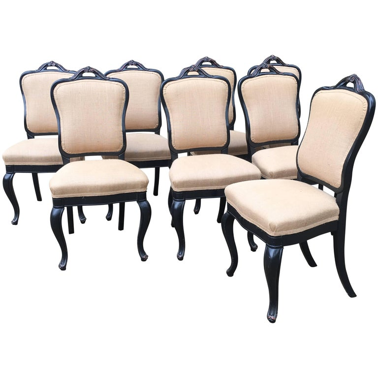 Italian Chairs with Inlaid Coated Wood and Juta in the Manner of Luis Philip
