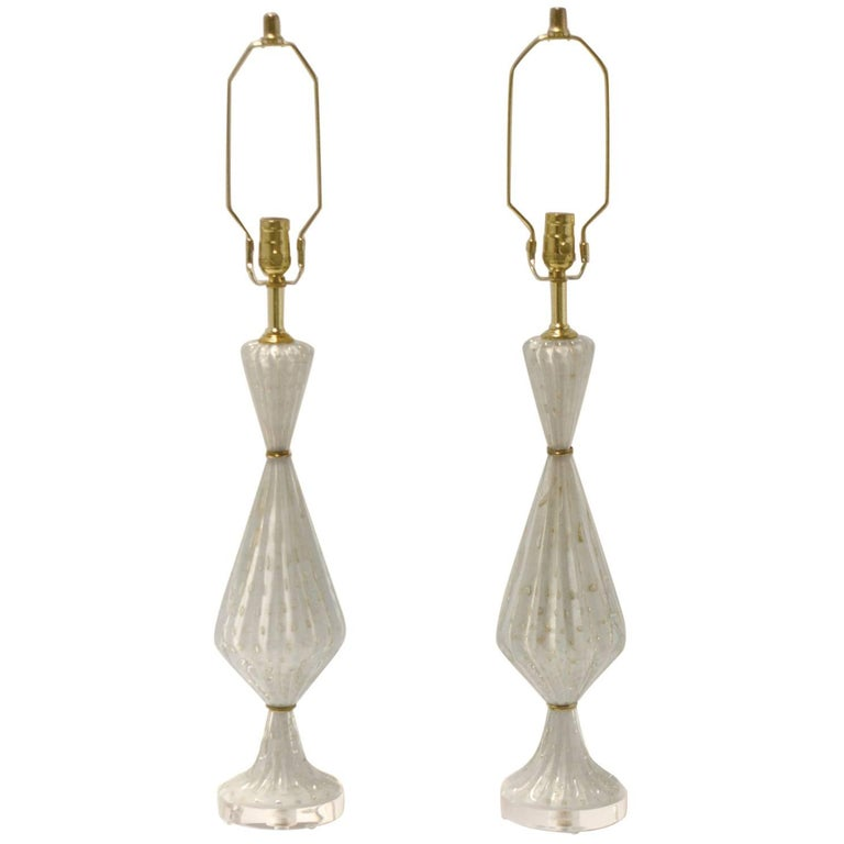 Pair of Barovier & Toso Murano Glass Lamps