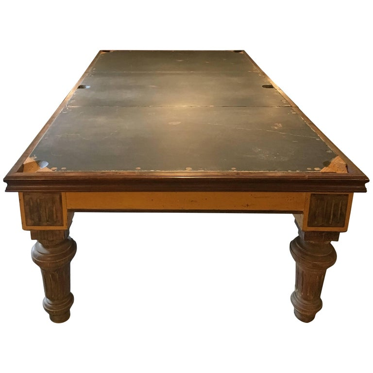 Th Century English Coated Wood Billiard Dining Table With Slate - Pool dining table with bench