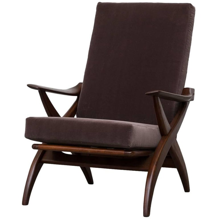 Organically Carved High Back Teak Lounge Chair For Sale