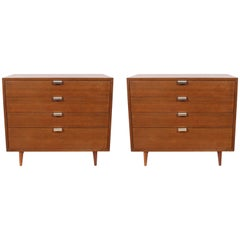 Pair of George Nelson for Herman Miller J Pull Four-Drawer Walnut Dressers