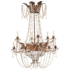 Italian Mid-20th Century Twelve-Light Crystal Basket-Shaped Chandelier
