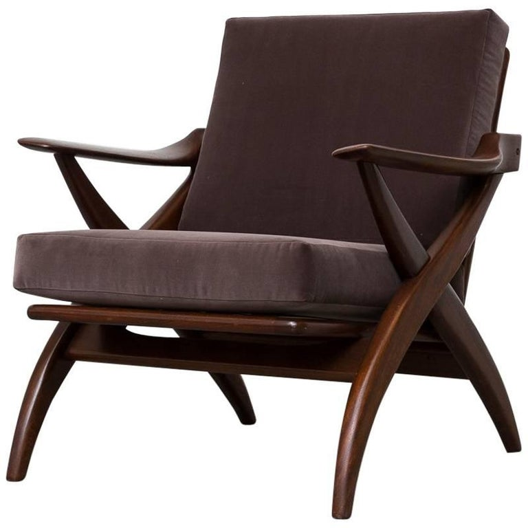 Organically Carved Low Back Teak Lounge Chair