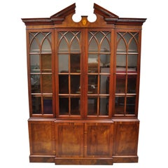 Drexel Wallace Nutting Mahogany Breakfront Bookcase China Cabinet Cupboard