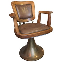 French Oakwood and Leather Barber Chair with Brass Base from 1940s