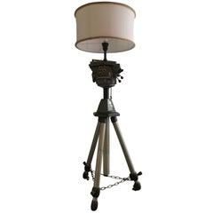 English Industrial Photographic Adjustable Tripod Floor Lamp from 1960s