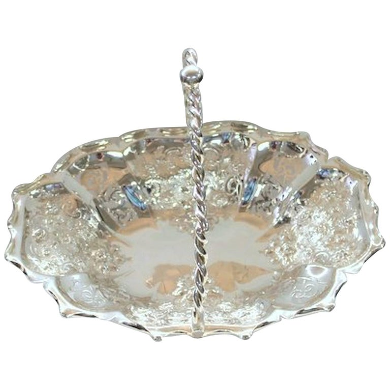 19th Century English Silver Plated, Pierced Oblong Cake or Bread Basket