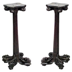 Pair of French Art Nouveau Walnut Low Pedestals