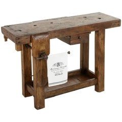 Early 20th Century French Oak Workbench, Sofa Table with Single Drawer and Vice