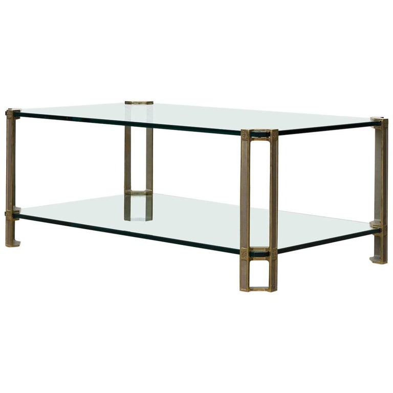 Peter Ghyczy Glass and Brass Coffee Table For Sale