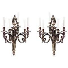 Pair of Louis XVI Style '19th-20th Century' Bronze Doré Five-Arm Wall Sconces