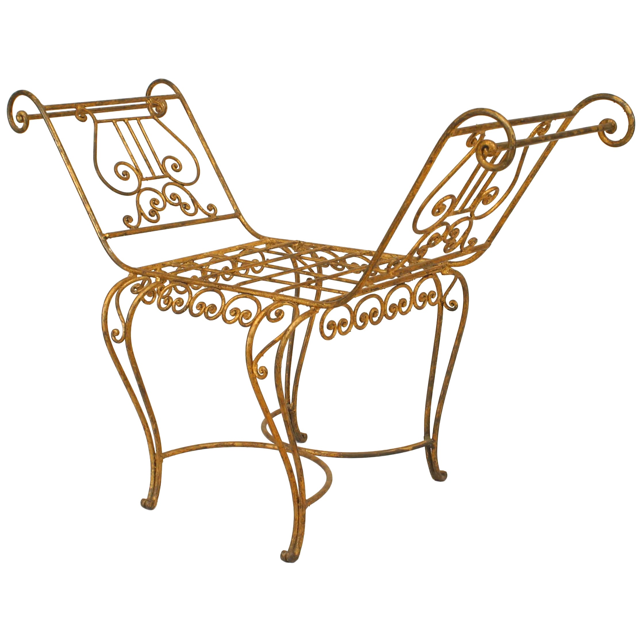 French Art Moderne '1940s' Gilt Wrought Iron Window Bench