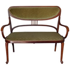 Antique Bentwood Thonet Settee / Bench Great Condition & Beautifully Upholstered