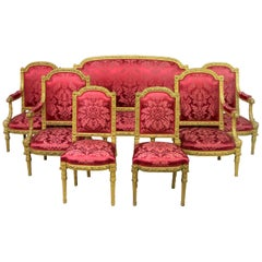 Palatial Late 19th Century Seven Piece Giltwood Carved Parlor Set