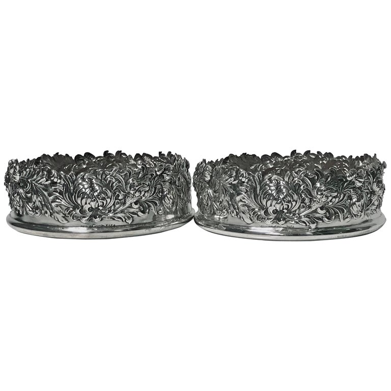 Pair of American Sterling Shiebler Wine Coasters, circa 1880