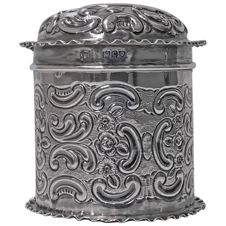 Antique Silver Caddy Box, London 1898, Mappin & Webb For Sale