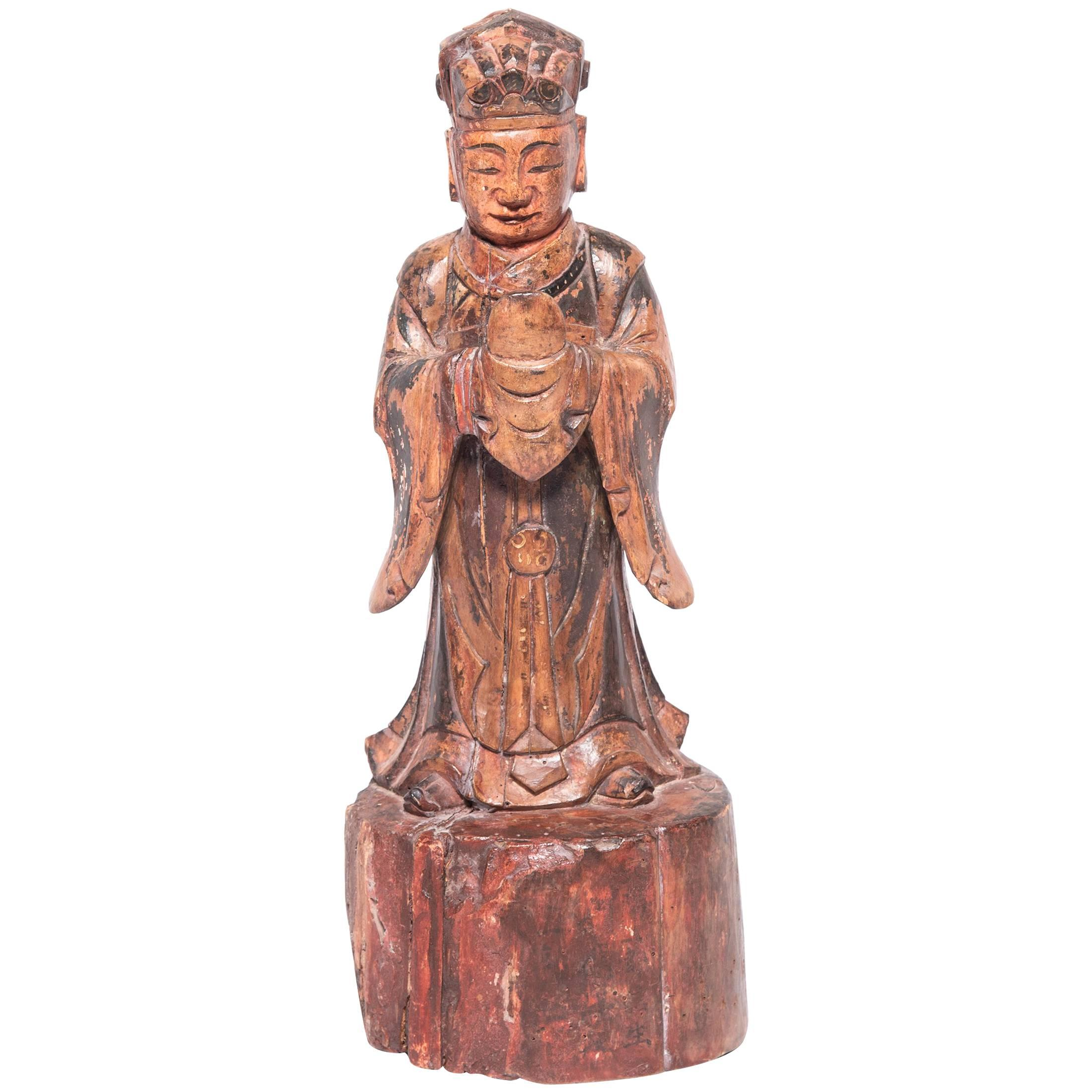 Mid-19th Century Chinese Carved Polychromed Altar Spirit