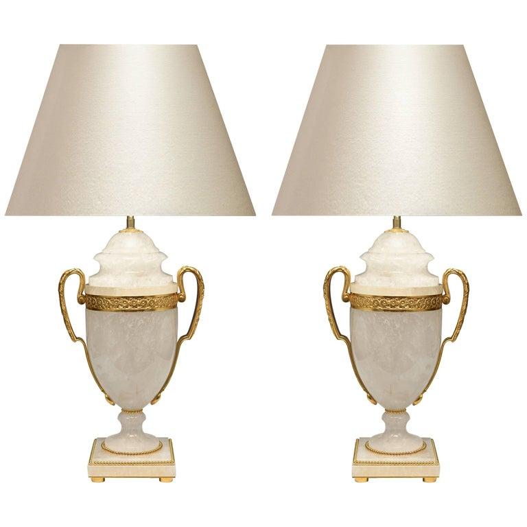 Pair of Ormolu Mount Rock Crystal Lamps