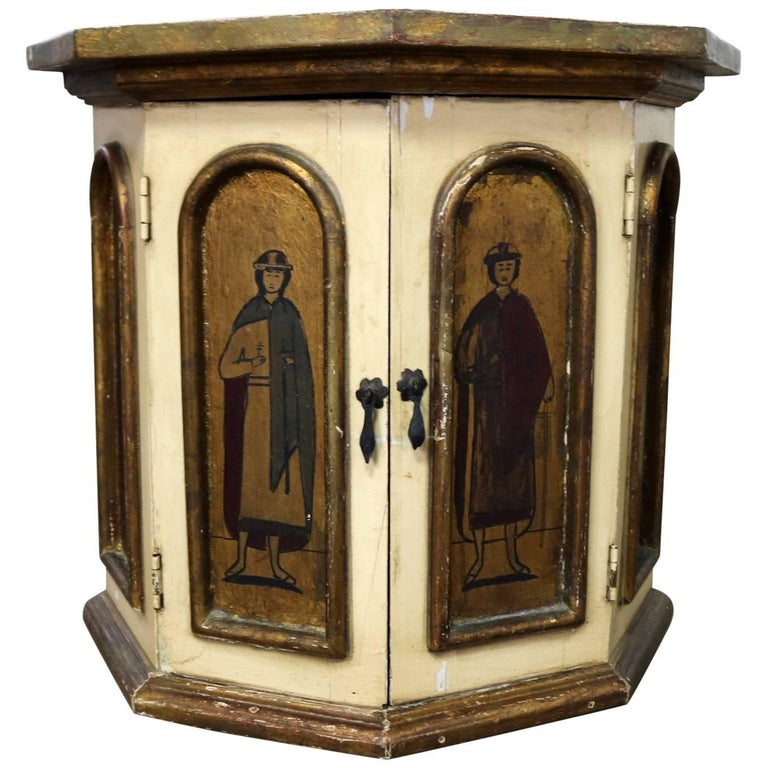 Vintage Hand-Painted Octagon Drum Side Table Cabinet Attributed Arte De Mexico