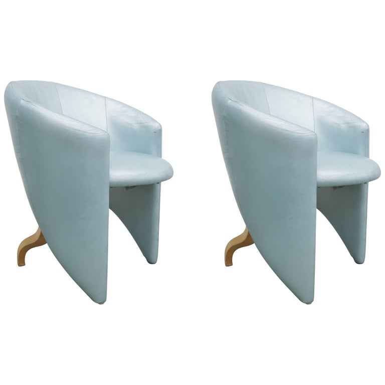 Pair of 1980s Memphis Style Chairs in Aquamarine Leather