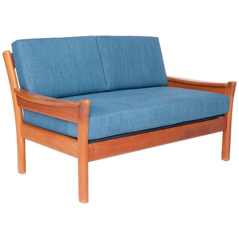 Midcentury Walnut Open Framed Settee Upholstered in Blue Linen For Sale