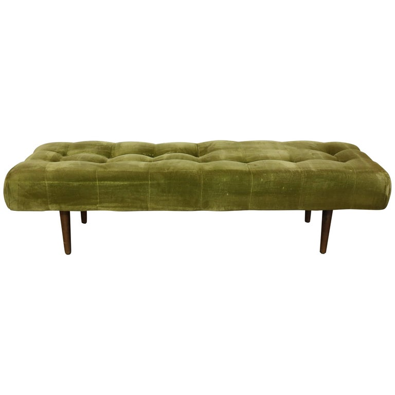 Biscuit Tufted Upholstered Midcentury Hollywood Regency Bench