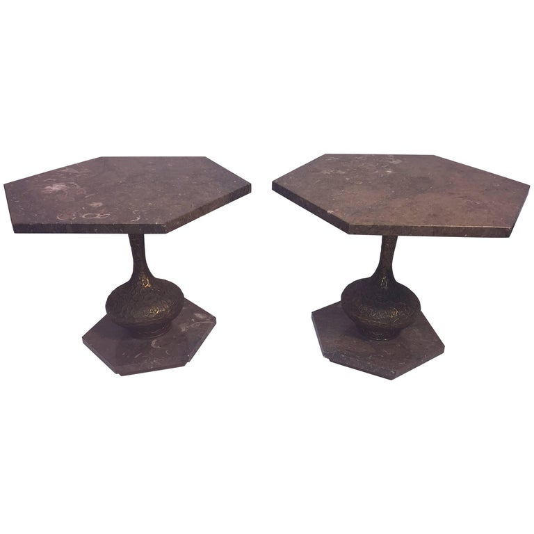 Mid-Century Modern Italian Pair of Marble and Brutalist Metal Side Tables