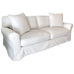 Contemporary Restoration Hardware Roll Arm White Cotton Slipcovered Sofa