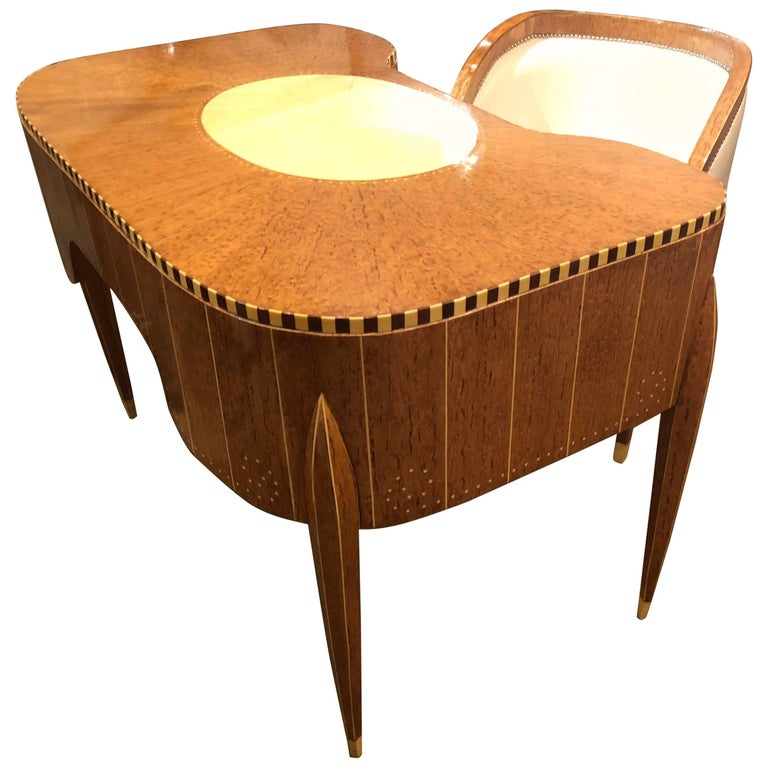 Art Deco Desk, Cabinet and Chair in Style of Ruhlmann