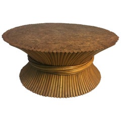 Modern Sheaf of Wheat Bamboo Coffee Table and Matching End Tables