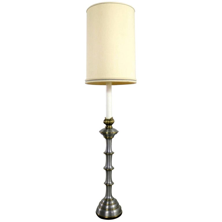 Stiffel Tall Table Lamp or Low Floor Lamp Midcentury Brass Brushed Stainless
