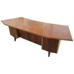 French Modern Palisander, Brass & Leather Trimmed Executive Desk, Maison Raphael